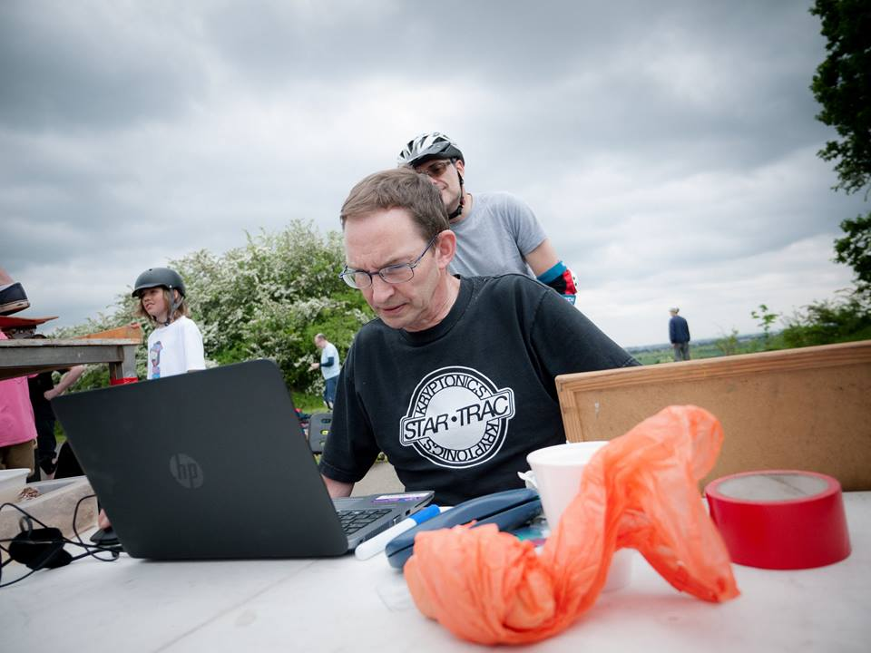 Race Control - Timekeeper Rob manning the laptop.
